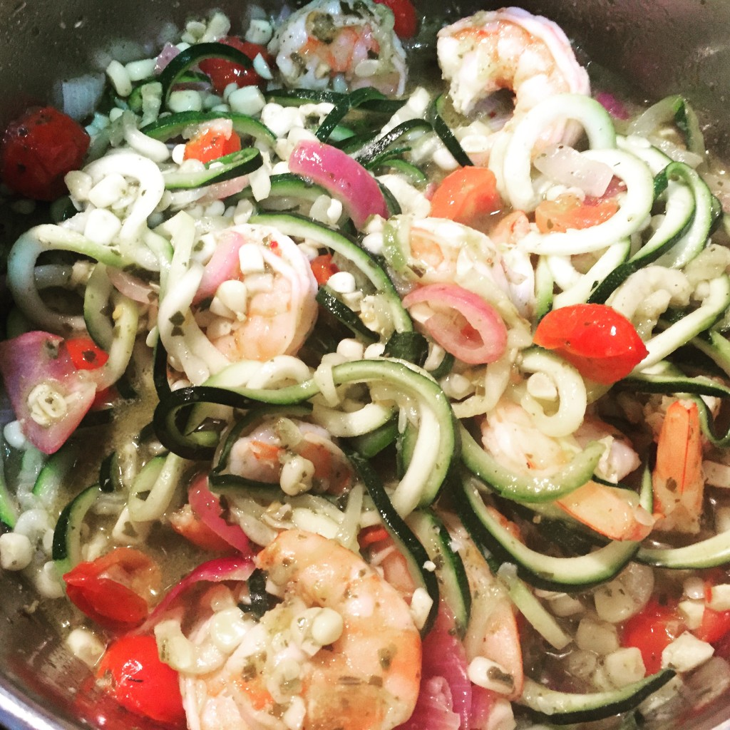 Shrimp Zoodles Pesto cooking in the pot