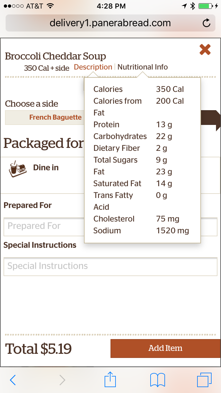 panera bread findings of fact Panera is known for its bread and many of the breads are relatively high in calories and very high in carbs panera nutrition facts and calories broccoli cheddar soup nutrition facts.