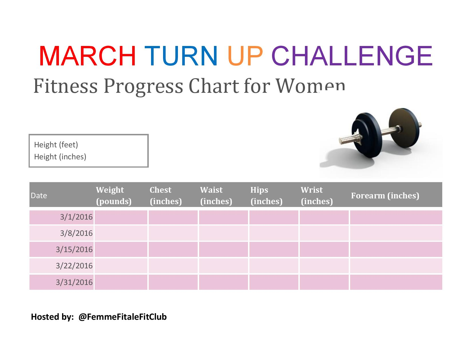 femme fitale fit club blogmarch turn up challenge fitness progress