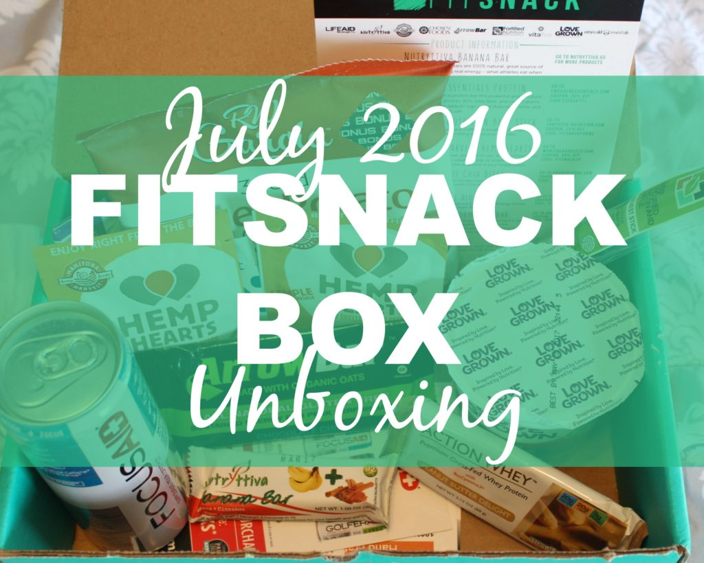 July 2016 FitSnack Box Unboxing blog